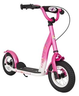 BIKESTAR® Premium Kinderroller 10er Classic Modell Flamingo Pink & Diamant Weiß 8
